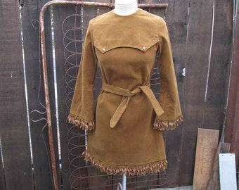 60s Brown suede dress Hippie fringe mini dress brown cotton Suede 60s vintage Mini Dress Boho Fringe Bell Sleeves S