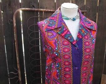 60s Neon Hawaiian dress Psychedelic Pink paisley vintage Dress 60s Hawaiian Shirtdress Edna Oliver shirt dress  M