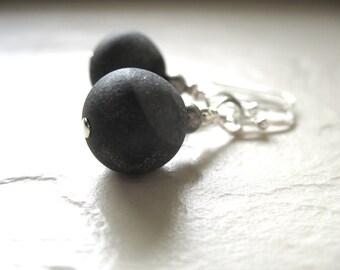 Druzy Agate Earrings, Matte Black Druzy Agate Gemstone Earrings, Dangle Drop, Gemstone Jewelry, Stone Earrings, Black Druzy Agate Earrings