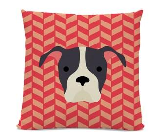 Pitbull Pillow - Throw Pillow - Orange Herringbone Pillow - dog breed pillow - Dog decorative Pillow - dog  breed throw pillow - Cute pillow