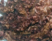 Cotswold Sheep Curls, Locks for Spinning, Felting and Wool Doll Hair Hand Dyed in Shades of Chestnut 1 oz.