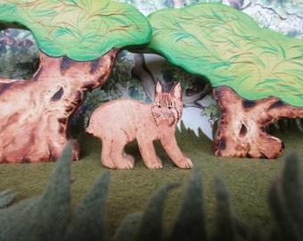 Wooden Lynx Toy Waldorf Heirloom Wood Animal Toys