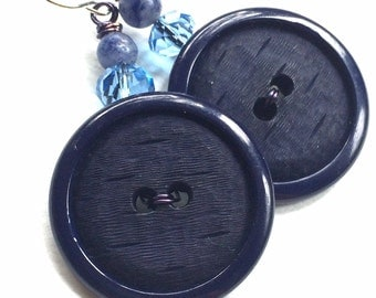 Big Navy Blue Button Earrings - Repurposed Vintage Button Jewelry