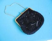 Vintage Black Beaded Purse - Pocketbook - evening bag