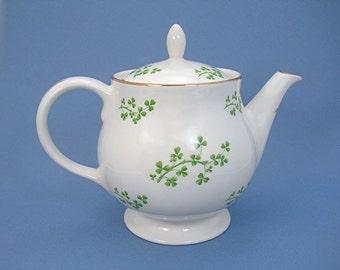 Shamrock China Teapot, Arklow, Produced in Republic of Ireland, Cream with Green Shamrocks, Gold Trim