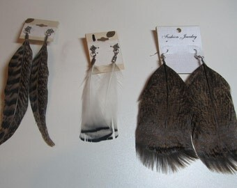 3 Pair of hand made Feather Earrings