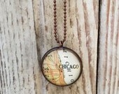 Chicago Map Necklace~Custom Vintage Map Pendant~Windy City Hometown Necklace~Moving Away Keepsake Gift~Illinois Travel Souvenir Jewelry
