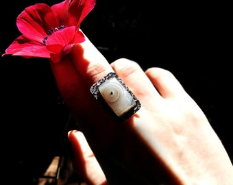 Natural solar quartz sterling silver plated ring with large rectangle gemstone and textured setting. Size 7