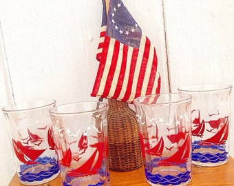 Sailing Takes Me Away... Vintage  Hazel Atlas Sailboat Drinking Glasses Swanky Swigs