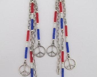 Boho Seed Bead Earrings - Red/White/Blue