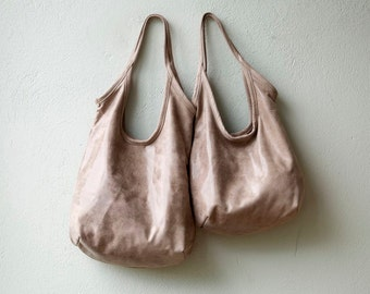 sale - SLING  - hazelnut leather tote - soft leather tote - light nubuk leather tote