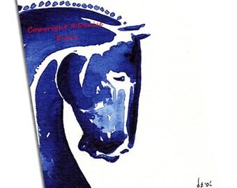 Abstract Horse Art Print Warmblood Horse Indigo Blue Shades Dressage Sports Horse Equestrian Art Horse Art Print Horse Gift Denise Every