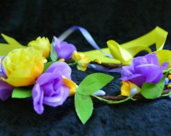 Purple Flower Crown, Flower Girl Crown, Boho Flower Crown, Flower Girl Headband, Flower Hair Wreath, Photo Prop, Fairy Crown, Yellow Crown