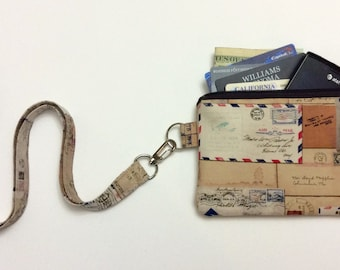 Air Mail Postal Stamps - Wallet Zipper Pouch with Removable Lanyard - Cell Phone Pouch / iPhone Pouch / ID Card Holder / Coin Purse