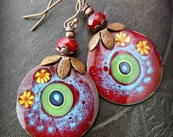 Enameled Copper Earrings,Copper Discs, Retro, Vintage, Copper Hoops, Earthy, Primitive, Organic, Rustic, Copper, Beaded Earrings