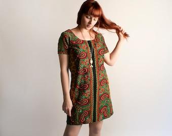 Vintage Psychedelic Print Dress - 1970s Boho Paisley African Dashiki Style Tunic Mini Dress - Medium