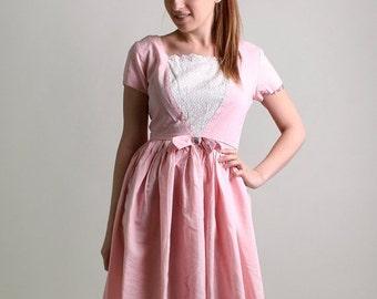 ON SALE Vintage 1950s Dress - Sweet Cotton Candy Pink Day Dress - Medium
