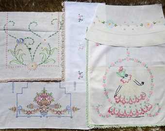 Vintage Embroidered Linen Lot Salvage Remnants #40...Pink & Green...Southern Belle Lady, Flower Basket,Bouquet...Mixed Lot,Scrap Collection