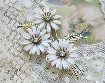 Vintage White Dianthus Flower Brooch, Pin, Rhinestone Centers
