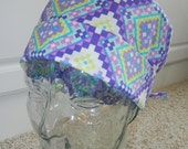 Tie Back Surgical Scrub Hat in Tribal Patchwork