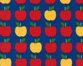Back to School fabric, Apple Fabric by Ann Kelle for Robert Kaufman, Classroom Decor, Teacher gift, Apples in Blue, Choose your cut