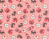 Red Riding Hood Fabric, House fabric, Valentine craft, Woodland fabric, Novelty fabric, Childrens fabric, Tossed in Pink, Choose the Cut