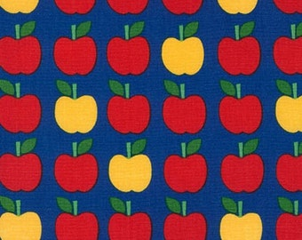 Back to School fabric, Apple Fabric by Ann Kelle for Robert Kaufman, Classroom Decor, Teacher gift, Apples in Blue, Choose your cut