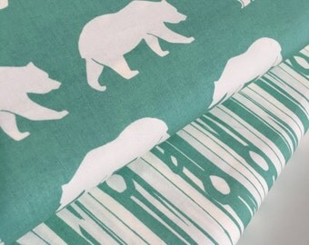Organic fabric, Bear Camp fabric bundle in Pool by Birch Fabrics, Bear fabric, Aqua fabric, Boy fabric, Nursery, Bundle of 2- Choose the Cut