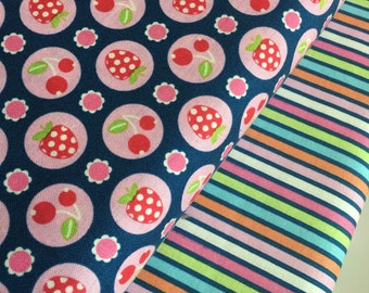SALE fabric, Strawberry fabric, Blue fabric, Cotton fabric by the yard, Berry fabric, Riley Blake, Bundle of 2- Choose the Cut