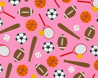 SALE fabric, Back to School, Sport Kids, Soccer fabric, Baseball fabric, Basketball fabric, Ann Kelle, Sports Stuff in Pink, Choose Your Cut