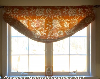 Custom Designer Faux Relaxed Roman Shade Window Treatment You Choose Fabric(s) & Customize