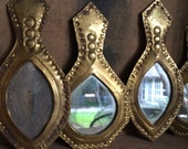 VINTAGE HOME...7 small mirrors, brass decor morrocan middle eastern boho home