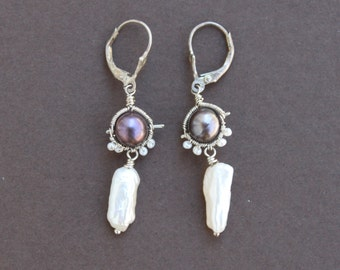 Freshwater Stick Pearl Wire Wrapped Oxidized Sterling Silver Handcrafted Dangle Earrings