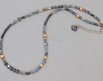 Labradorite Pyrite Gold Brass Handcrafted Gemstone Beaded Necklace Sundance Style