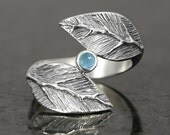 Electric blue topaz cabochon leaf ring in sterling silver - elf pixie tribal boho