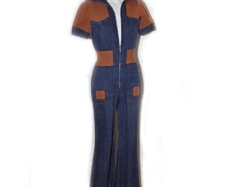 Vintage 1970's Jean Denim Bell Bottom Jumpsuit
