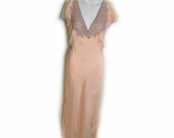 Vintage 1930s Peach Silk Bias Night Gown with Lace