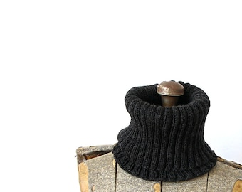 Cowl Scarf Wool Rib Knit Charcoal Gray Cowl Winter Autumn Fall Holiday Gift