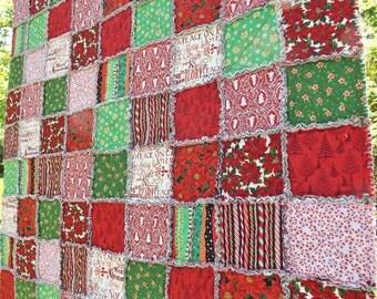 Christmas Rag Quilt - Christmas Red and Green - Christmas Quilt - Christmas Gift - Extra Large Lap Quilt - Handmade