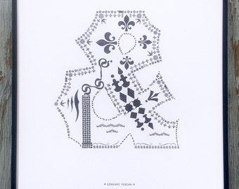 Concave Tuscan letterpress ampersand print