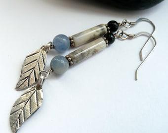 Handcrafted Artisan Blue Quartz Fancy Jasper Onyx Sterling Silver Leaves OOAK Western Boho Hippie Linear Gift for Her Dangle Drop Earrings