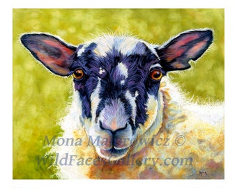 Sheep Art, Ewedora Sheep Print, nursery decor, kids room decor, country decor, farm decor, kitchen decor, sheep painting, baby gifts
