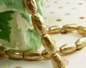 Gold Czech Glass Pearl Beads Metallic Bumpy Oval 10x5mm (25)