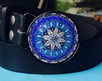 Alyssa - Blue and Black Mandala Belt Buckle with Black Leather Belt