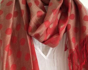 Polka dot persimmon  reversible scarf