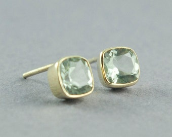 Cushion Cut Green Amethyst Earrings, Prasiolite Earrings, Solid Gold Stud Earrings, 14K Gold Earrings, Made to Order, Free Courier Shipping