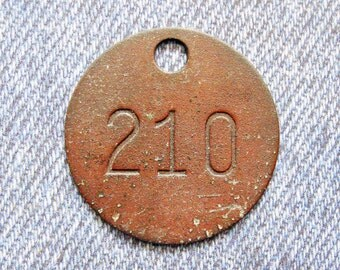 Miners Brass Tag Number 210 Antique Coal Mining Tool Id Check Numbered Fob Keychain Token Rustic Relic for Repurpose