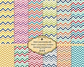 Party Chevron Digital Paper pack for invites, card making, digital scrapbooking