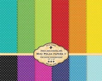 Printable/Digital Paper pack for invites, card making, digital scrapbooking - Mini Polka Dot