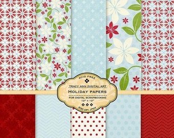 Digital Paper Pack for invites, card making, digital scrapbooking - Holiday